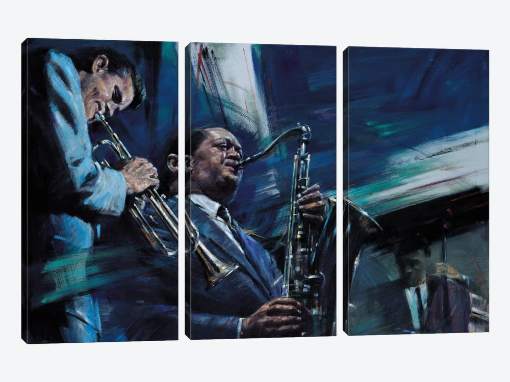 Blue Cool by Jin G. Kam 3-piece Canvas Print