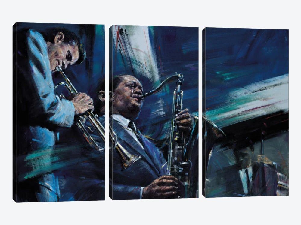 Blue Cool by Jin G. Kam 3-piece Canvas Print