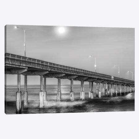 Moonlight At Ocean Beach Pier Canvas Print #JGL101} by Joseph S. Giacalone Canvas Wall Art