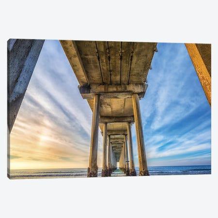 Scripps Pier Framed Canvas Print #JGL12} by Joseph S. Giacalone Canvas Art