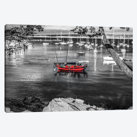 Red Boat Monterey Harbor Canvas Print #JGL141} by Joseph S. Giacalone Canvas Art