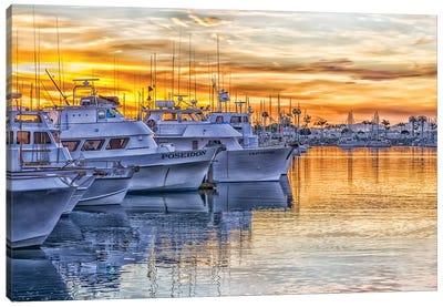 Fishing Boats At Sunrise Canvas Art Print