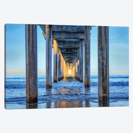 Caught The Sun At Scripps Pier Canvas Print #JGL200} by Joseph S. Giacalone Art Print