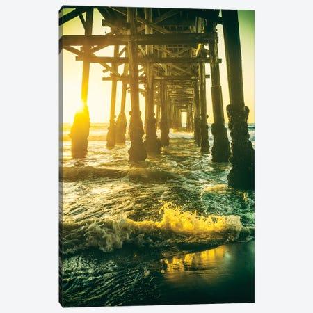 Surf Under The Pier Canvas Print #JGL235} by Joseph S. Giacalone Art Print