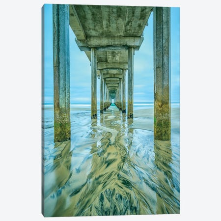Scripps Pier Shapes In The Sand Canvas Print #JGL39} by Joseph S. Giacalone Canvas Artwork