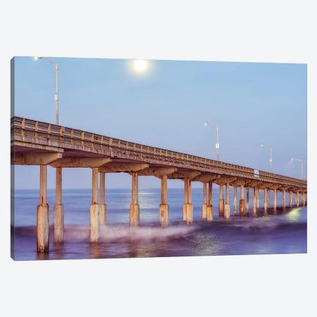 Moon Over Ocean Beach Pier Canvas Print #JGL40} by Joseph S. Giacalone Canvas Print