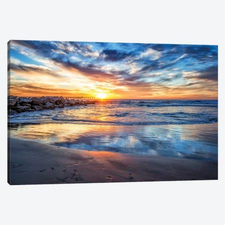 Winter Sunset At Ocean Beach Canvas Print #JGL56} by Joseph S. Giacalone Canvas Print