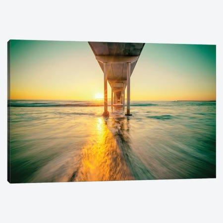 Sunset Sunbeams At Ocean Beach Pier Canvas Print #JGL86} by Joseph S. Giacalone Canvas Art