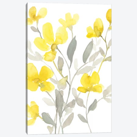 Yellow & Grey Garden I 3-Piece Canvas #JGO1043} by Jennifer Goldberger Art Print