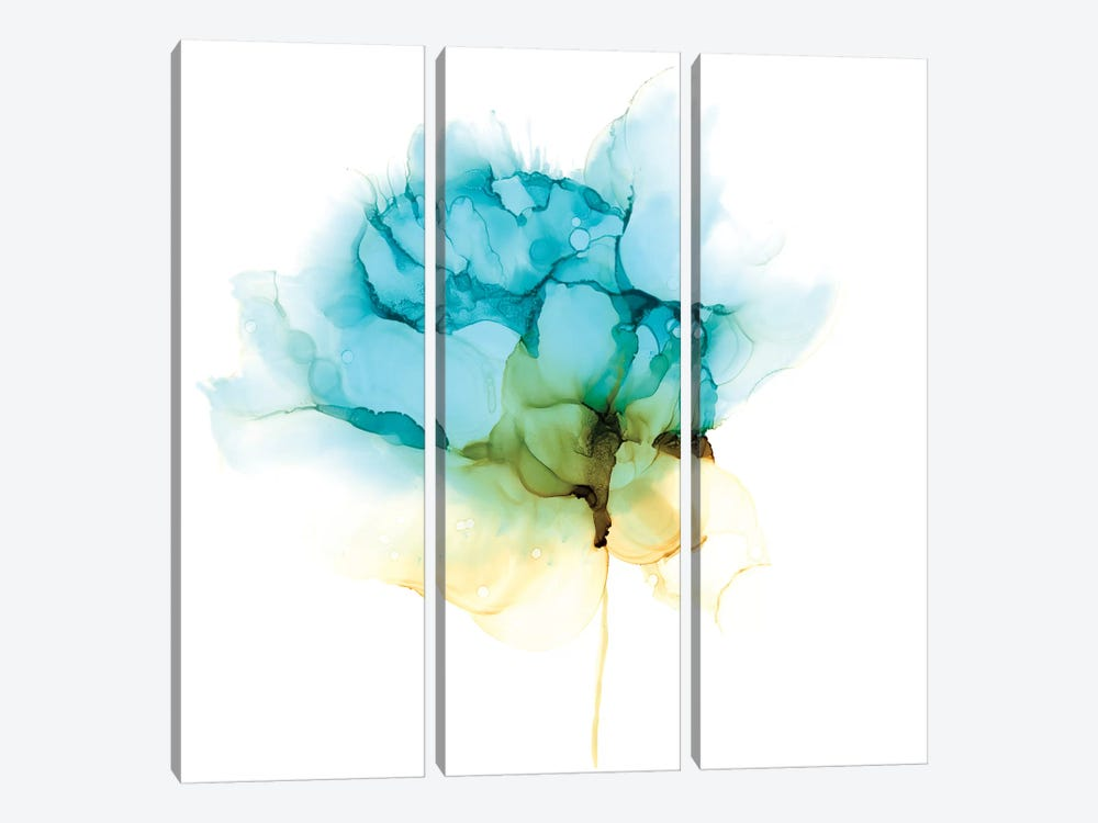 Blooming Cyan I by Jennifer Goldberger 3-piece Canvas Art Print