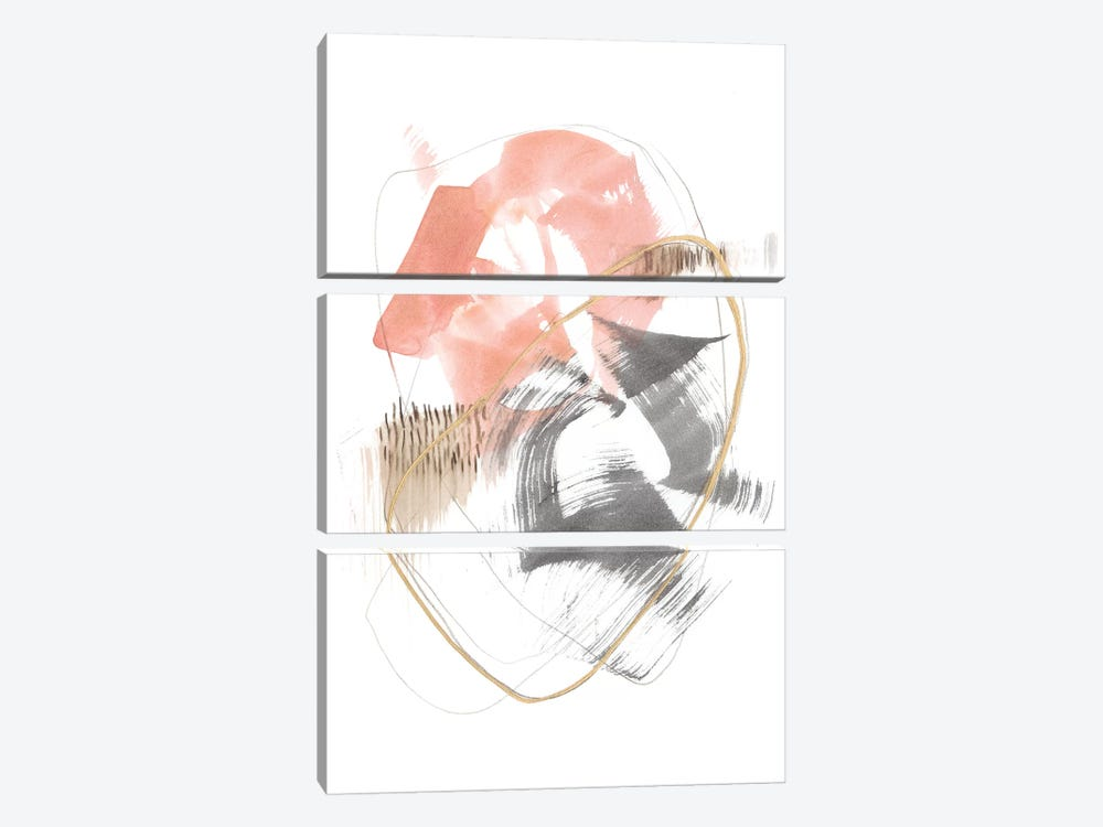 Blushing Circularity I by Jennifer Goldberger 3-piece Canvas Print