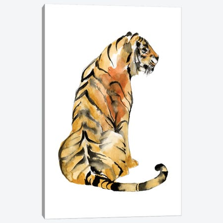 Sitting Tiger I Canvas Print #JGO1084} by Jennifer Goldberger Canvas Artwork