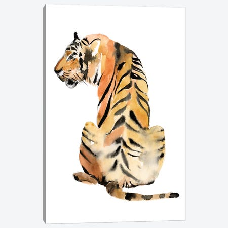Sitting Tiger II Canvas Print #JGO1085} by Jennifer Goldberger Canvas Wall Art