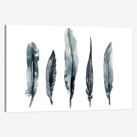 Indigo Feathers I Canvas Print #JGO1126} by Jennifer Goldberger Canvas Print