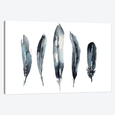 Indigo Feathers II Canvas Print #JGO1127} by Jennifer Goldberger Canvas Art Print