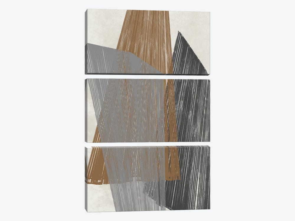 Triangle Stripes I by Jennifer Goldberger 3-piece Canvas Artwork