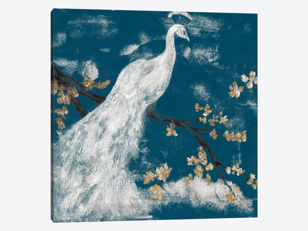 White Peacock on Indigo I by Jennifer Goldberger 1-piece Canvas Art
