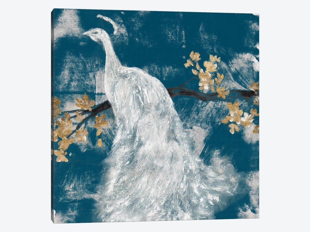 White Peacock on Indigo II by Jennifer Goldberger 1-piece Art Print