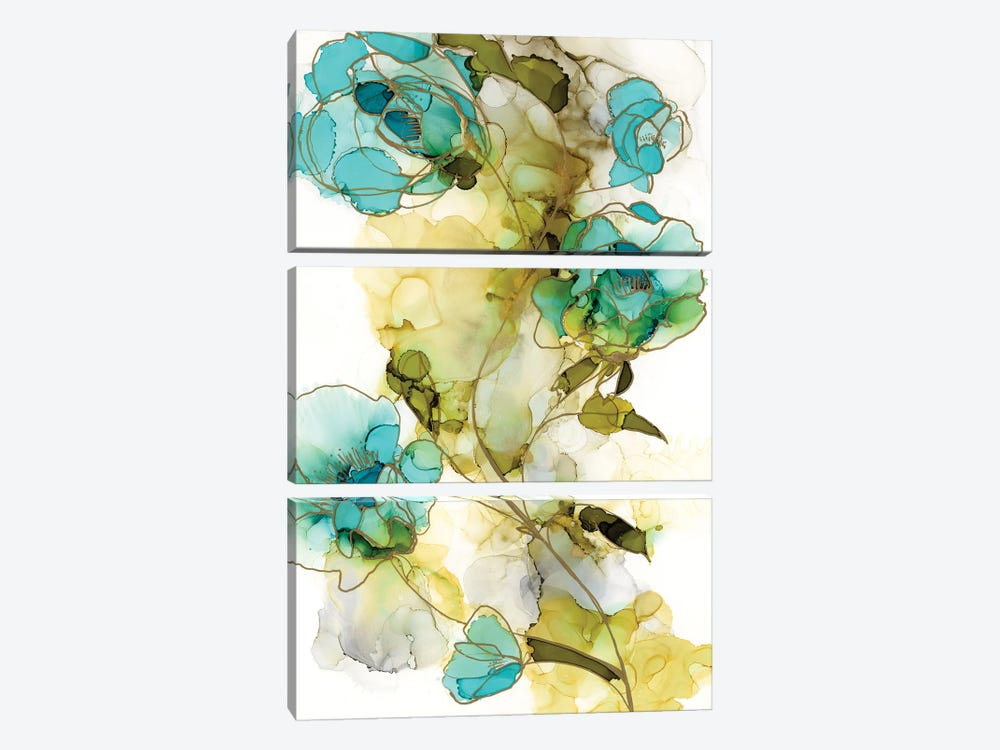 Flower Facets I by Jennifer Goldberger 3-piece Canvas Art