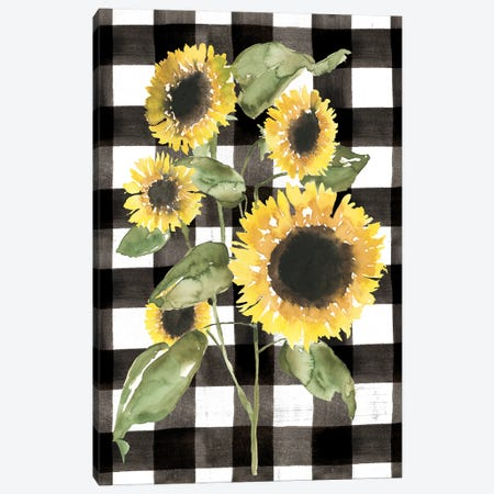Buffalo Check Sunflower I Canvas Print #JGO1271} by Jennifer Goldberger Canvas Wall Art