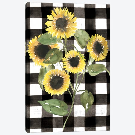 Buffalo Check Sunflower II Canvas Print #JGO1272} by Jennifer Goldberger Canvas Wall Art