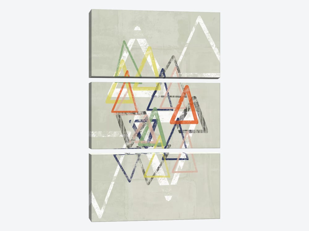 Stamped Triangles II by Jennifer Goldberger 3-piece Canvas Art