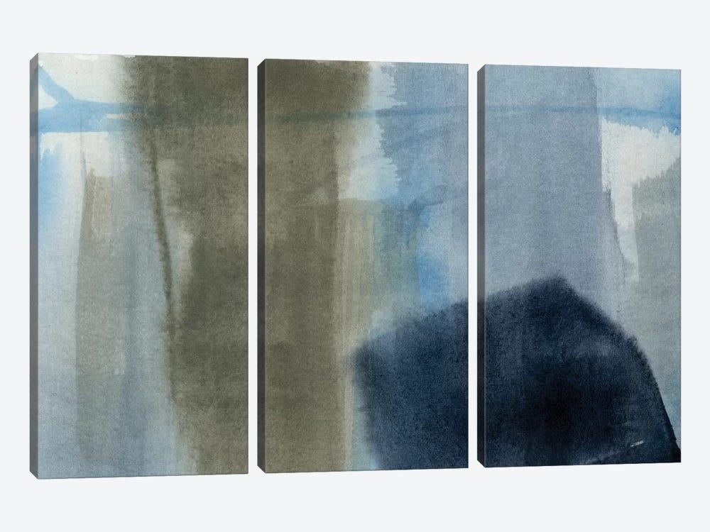 Blue On Grey I by Jennifer Goldberger 3-piece Canvas Print