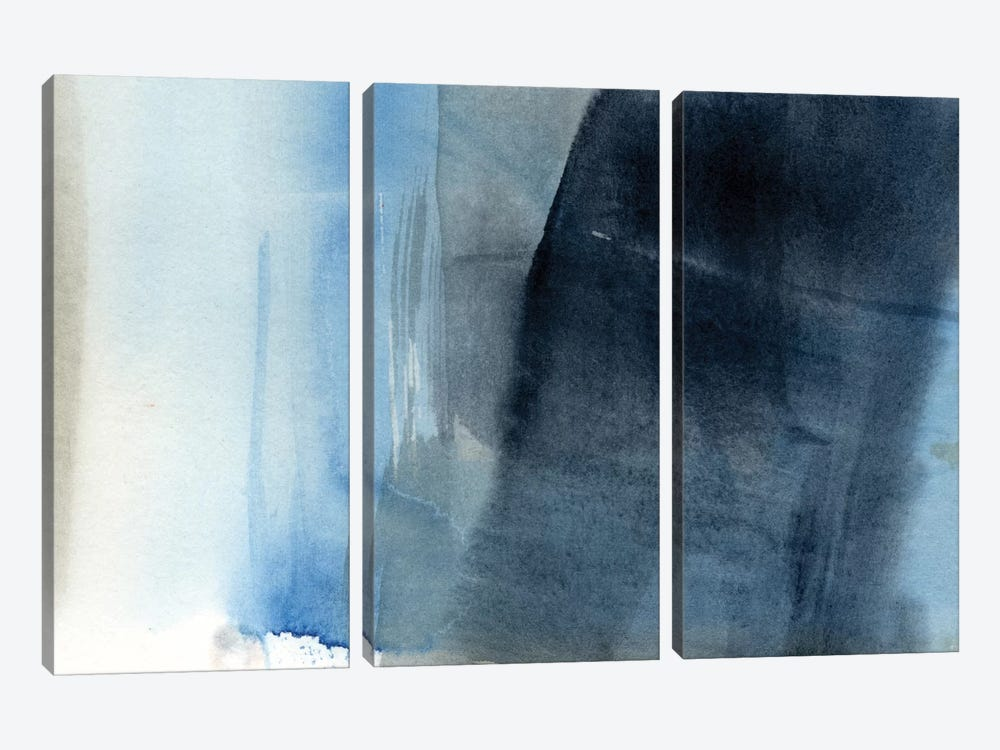 Blue On Grey II by Jennifer Goldberger 3-piece Canvas Art