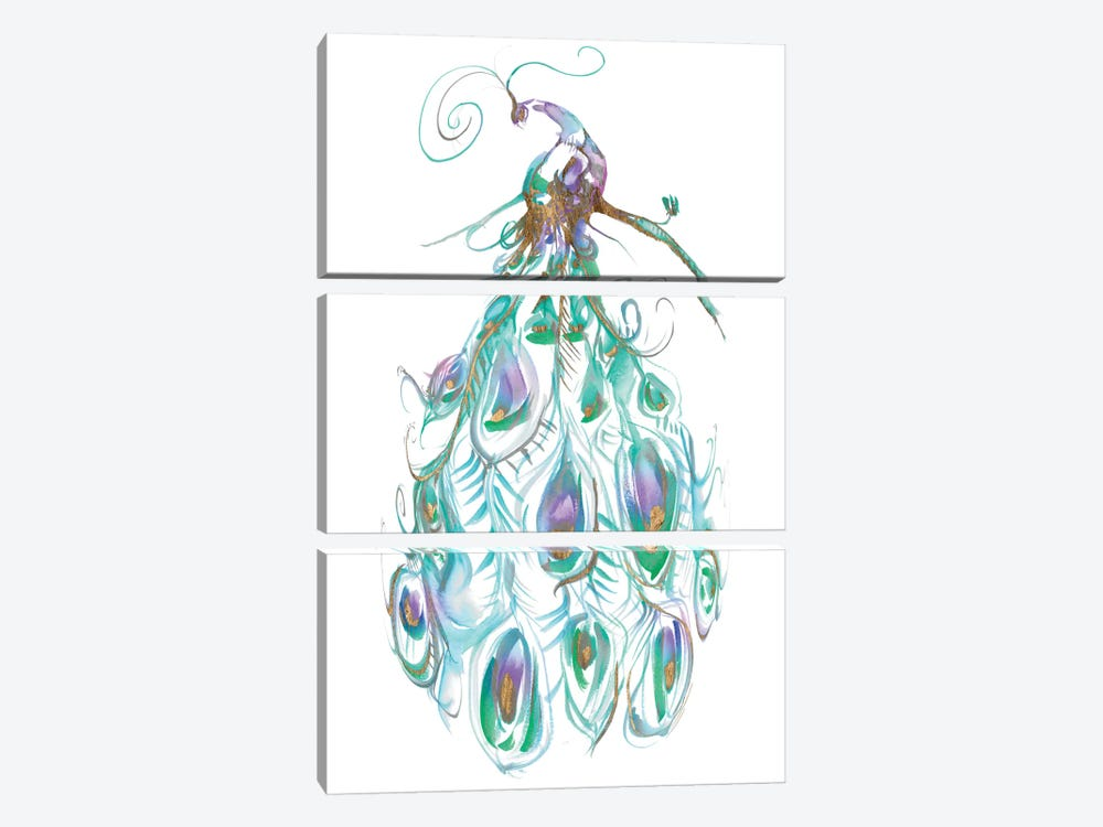 Gilded Peacock Plumes I by Jennifer Goldberger 3-piece Art Print