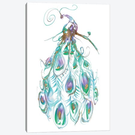 Gilded Peacock Plumes I Canvas Print #JGO162} by Jennifer Goldberger Canvas Artwork