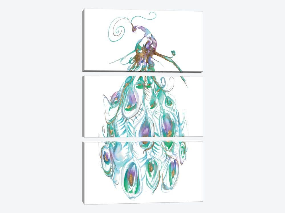 Gilded Peacock Plumes I by Jennifer Goldberger 3-piece Art Print