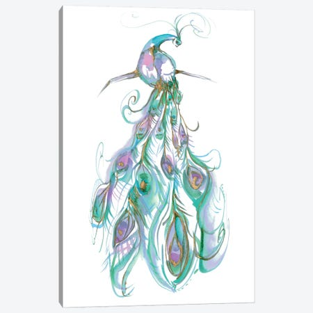 Gilded Peacock Plumes II Canvas Print #JGO163} by Jennifer Goldberger Canvas Art