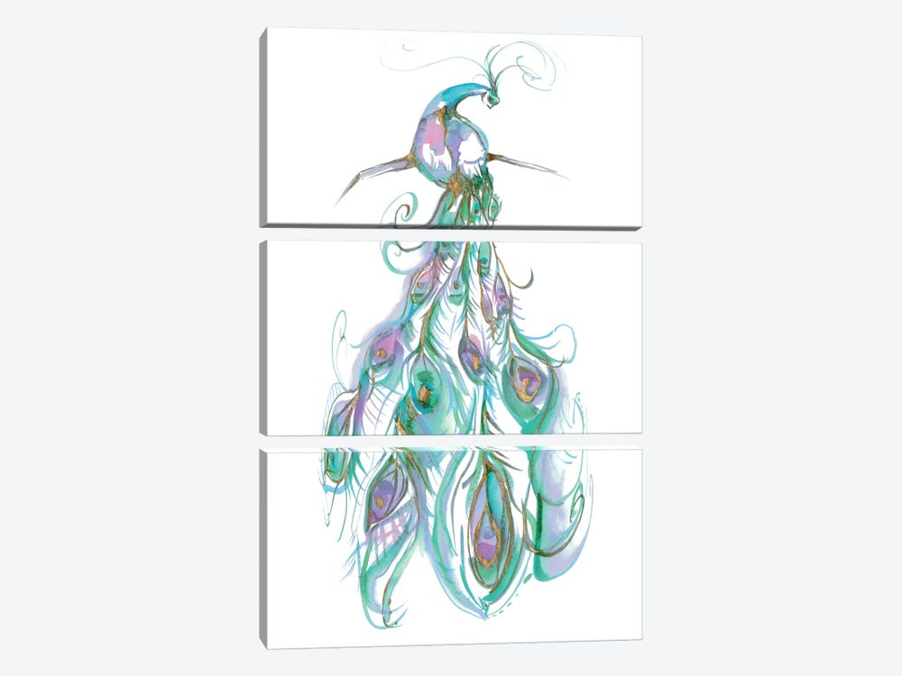 Gilded Peacock Plumes II 3-piece Canvas Wall Art