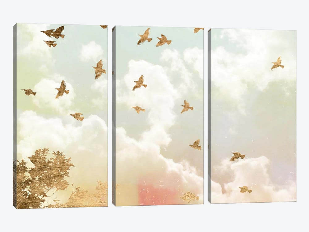 Golden Flight I by Jennifer Goldberger 3-piece Canvas Print