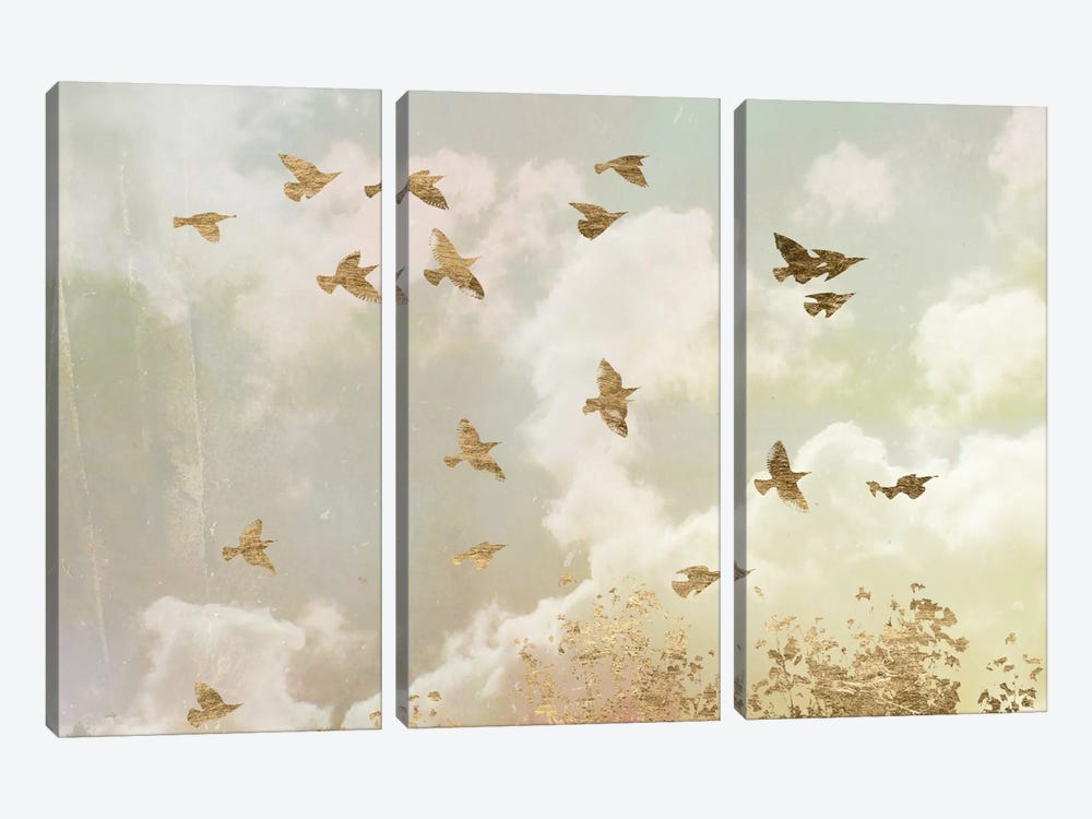 Golden Flight II by Jennifer Goldberger 3-piece Canvas Art