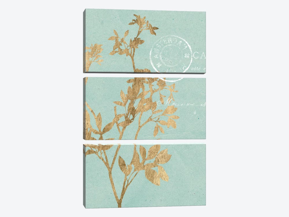 Golden Leaves I by Jennifer Goldberger 3-piece Canvas Print