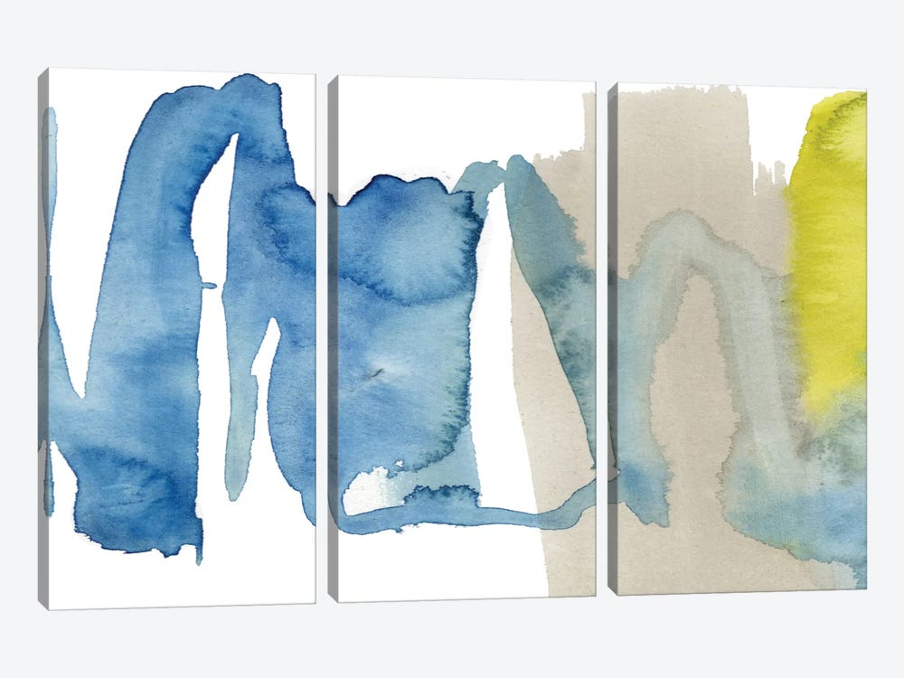 Indigo & Citron I by Jennifer Goldberger 3-piece Canvas Art