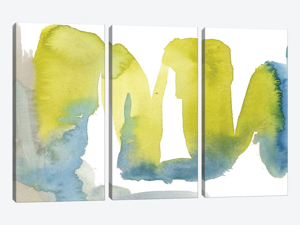 Indigo & Citron II by Jennifer Goldberger 3-piece Canvas Art Print