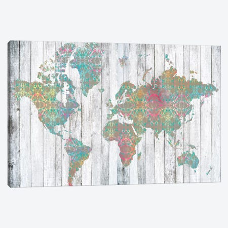 Boho Map II 3-Piece Canvas #JGO20} by Jennifer Goldberger Canvas Artwork
