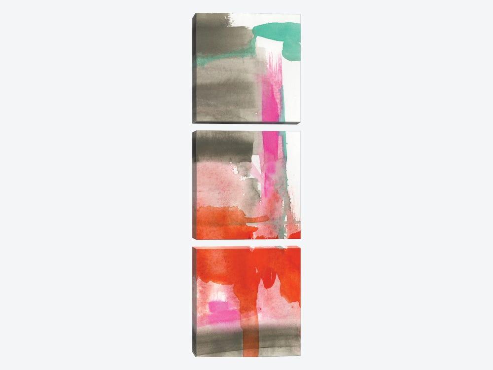 Red, Pink & Grey II by Jennifer Goldberger 3-piece Canvas Print