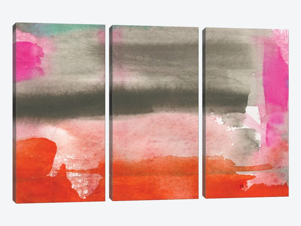 Red, Pink & Grey III by Jennifer Goldberger 3-piece Canvas Artwork