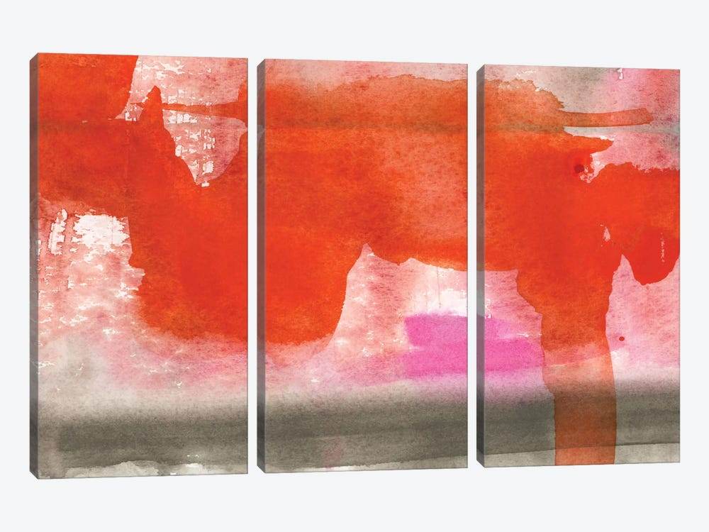 Red, Pink & Grey IV by Jennifer Goldberger 3-piece Canvas Art