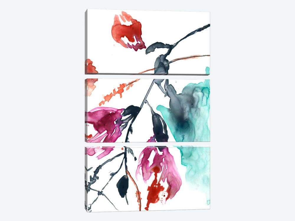 Hanging Fuchsia II by Jennifer Goldberger 3-piece Canvas Artwork