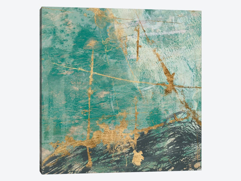 Teal Lace II by Jennifer Goldberger 1-piece Canvas Artwork