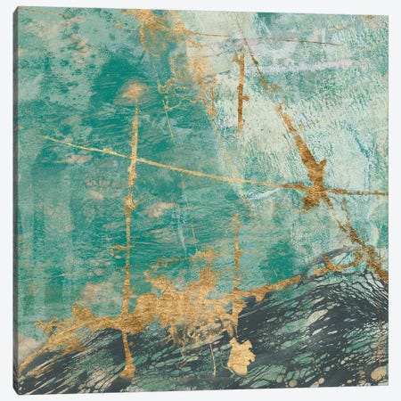 Teal Lace II Canvas Print #JGO278} by Jennifer Goldberger Canvas Wall Art