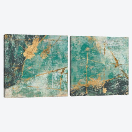 Teal Lace Diptych Canvas Print Set #JGO2HSET005} by Jennifer Goldberger Canvas Artwork