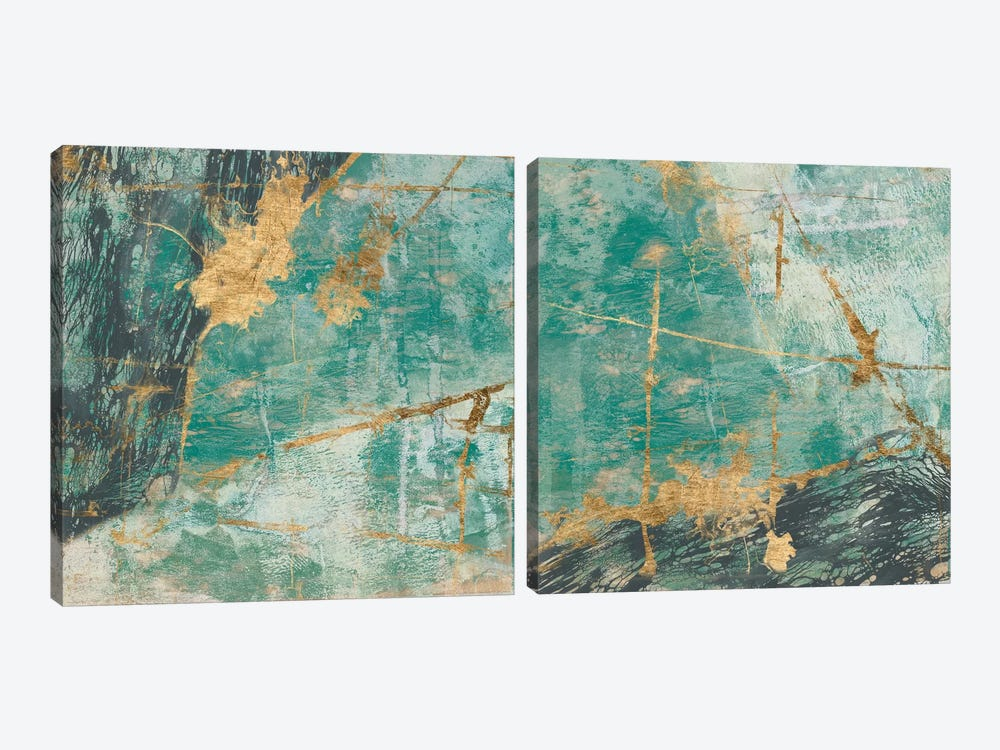 Teal Lace Diptych 2-piece Art Print