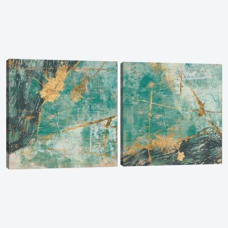 Teal Lace Diptych Canvas Print Set #JGO2HSET005} by Jennifer Goldberger Canvas Artwork