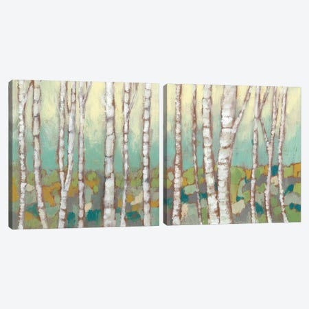Kaleidoscope Birches Diptych Canvas Print Set #JGO2HSET006} by Jennifer Goldberger Canvas Wall Art
