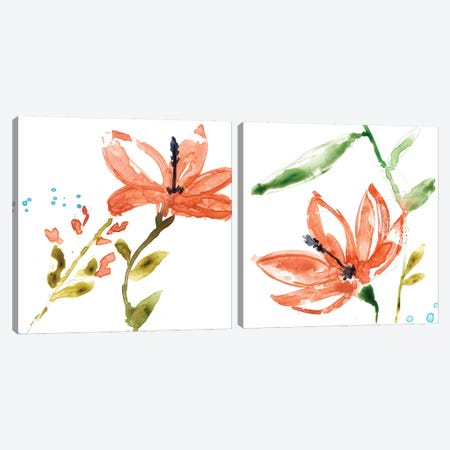 Tropical Display Diptych Canvas Print Set #JGO2HSET007} by Jennifer Goldberger Canvas Artwork